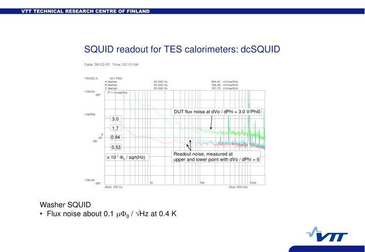 SQUID readout for TES calorimeters: dcSQUID
