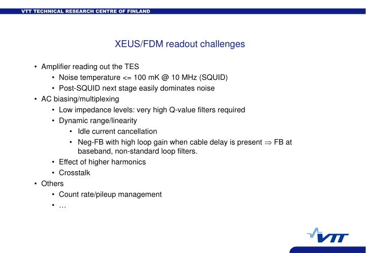 XEUS/FDM readout challenges
