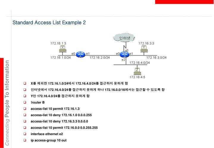 Standard Access List Example 2