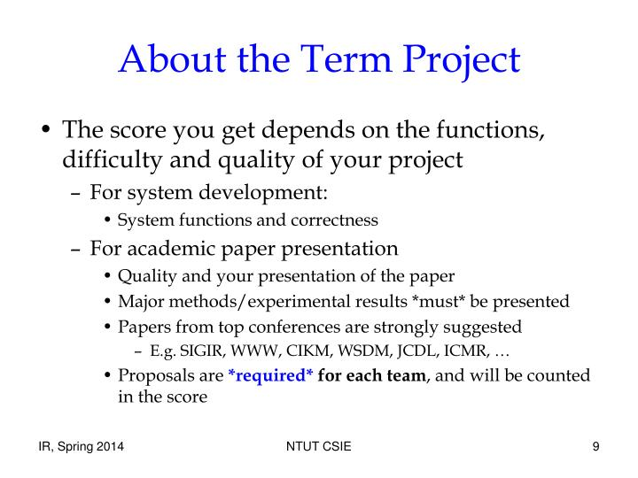 About the Term Project