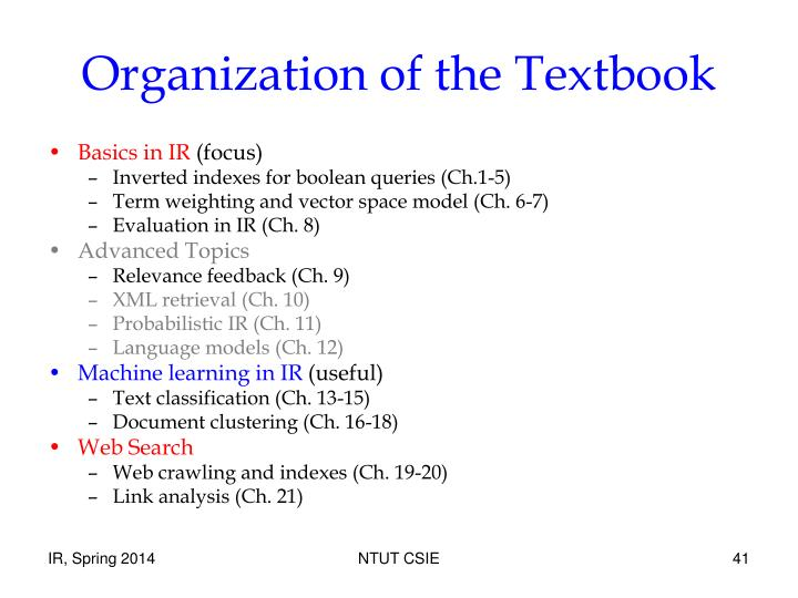 Organization of the Textbook