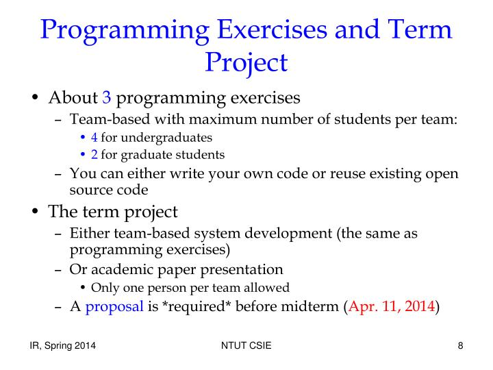Programming Exercises and Term Project