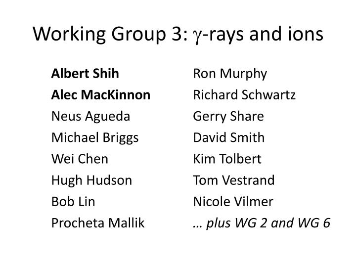 Working group 3 rays and ions