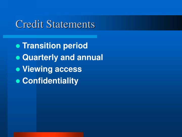 Credit Statements