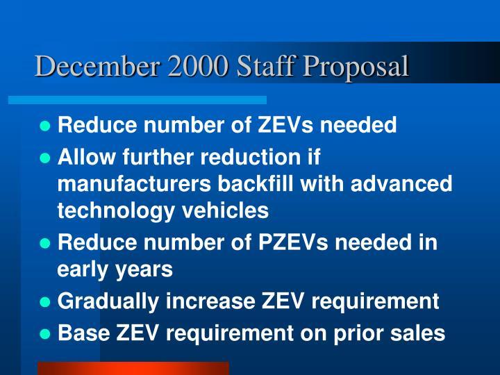 December 2000 Staff Proposal
