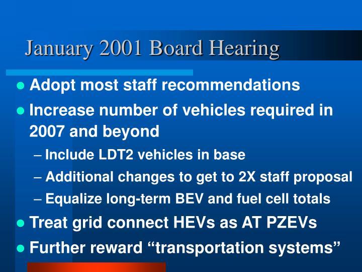 January 2001 Board Hearing
