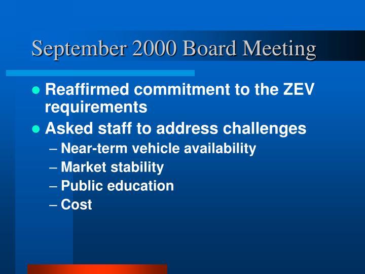 September 2000 Board Meeting