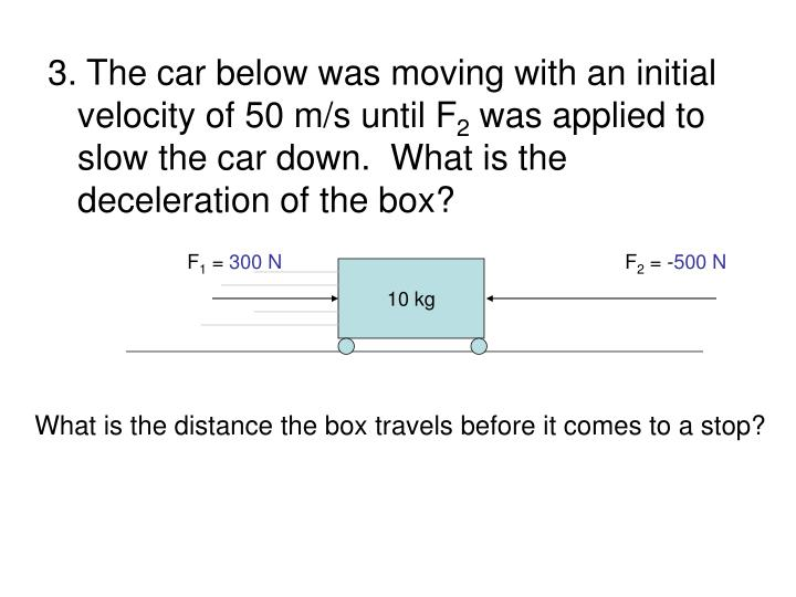 3. The car below was moving with an initial velocity of 50 m/s until F