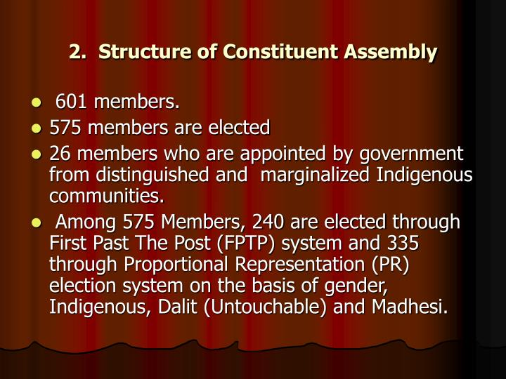 2.  Structure of Constituent Assembly