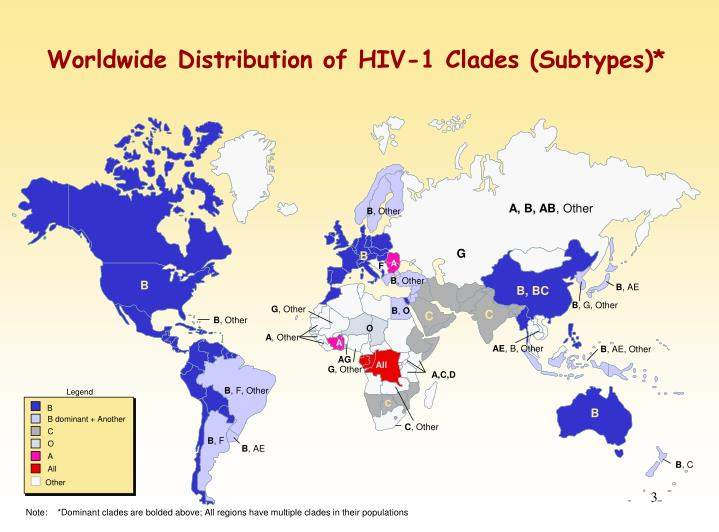 Worldwide distribution of hiv 1 clades subtypes