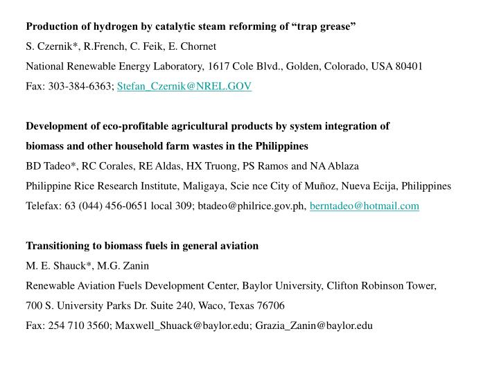 """Production of hydrogen by catalytic steam reforming of """"trap grease"""""""