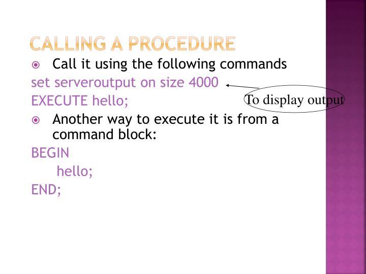 Calling a Procedure