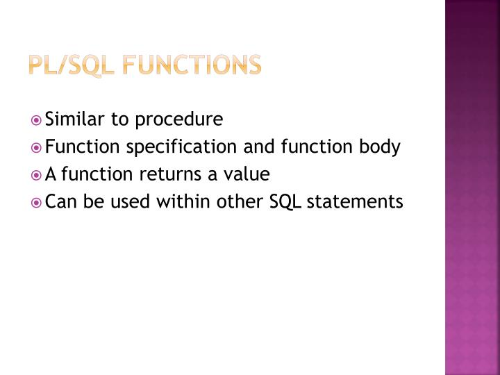 PL/SQL Functions