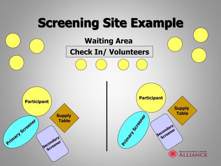 Screening Site Example