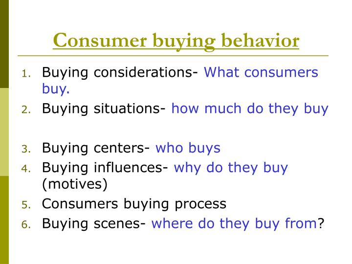 consumer buying motives