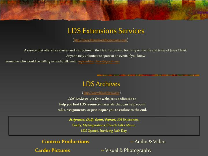 LDS Extensions Services