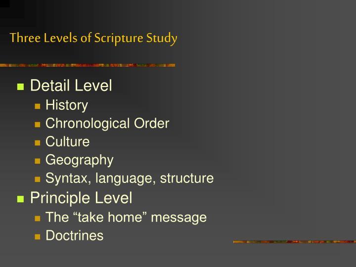 Three Levels of Scripture Study