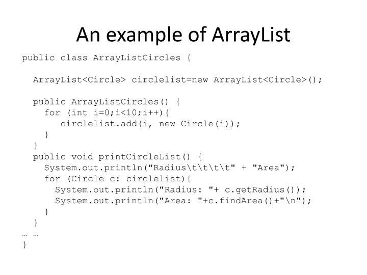 An example of ArrayList