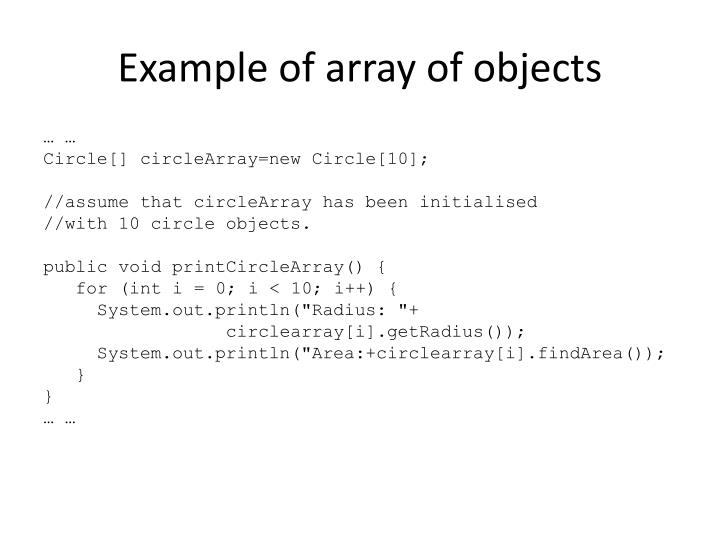 Example of array of objects