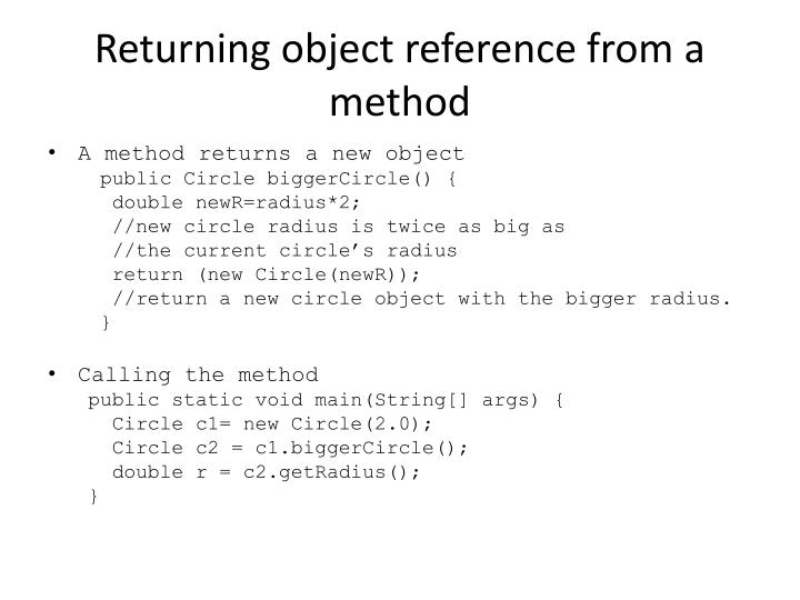 Returning object reference from a method