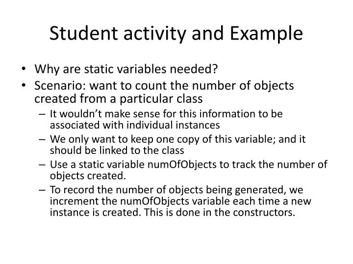 Student activity and Example