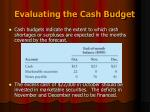 evaluating the cash budget