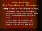profit planning pro forma financial statements2