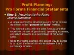 profit planning pro forma financial statements3