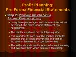 profit planning pro forma financial statements4