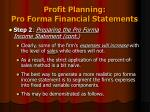 profit planning pro forma financial statements6