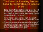 the financial planning process long term strategic financial plans