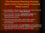 the financial planning process short term operating financial plans cont1