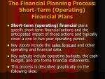 the financial planning process short term operating financial plans