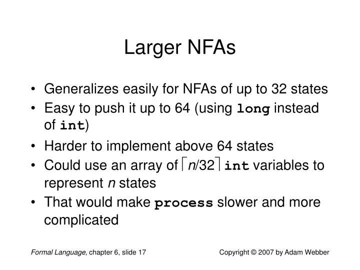 Larger NFAs