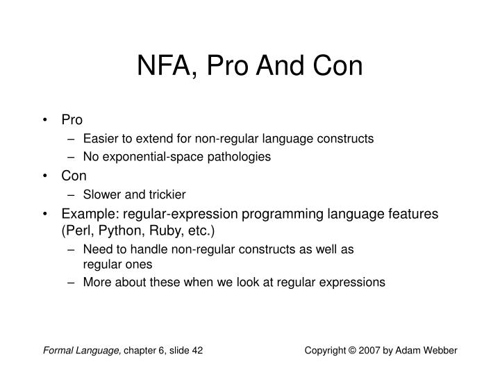 NFA, Pro And Con