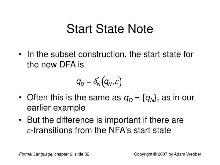 Start State Note