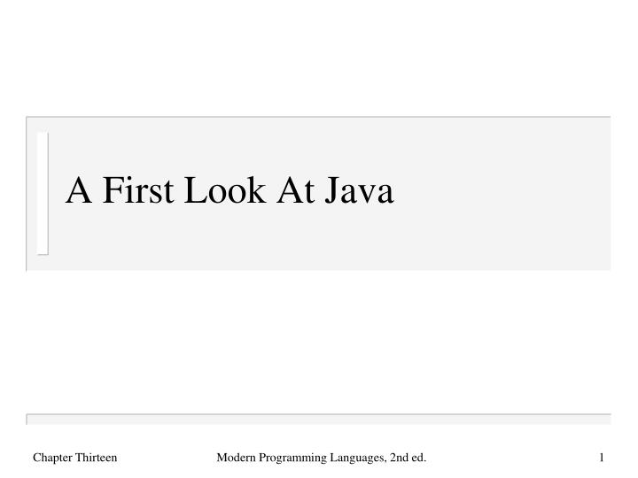a first look at java n.