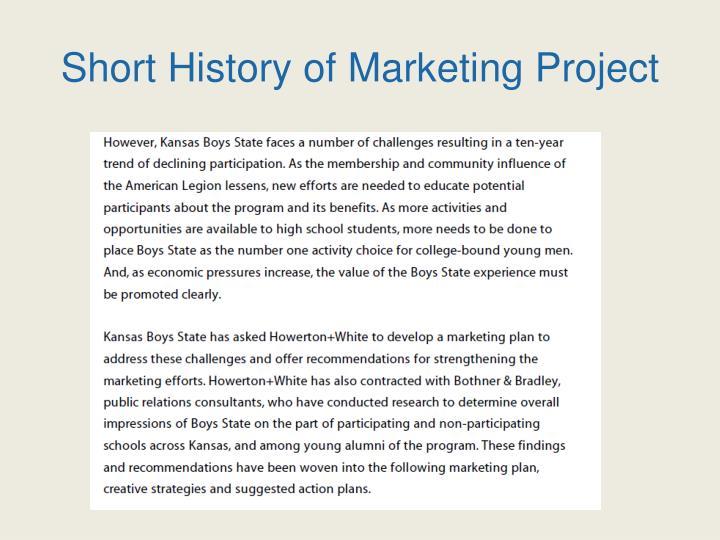 Short History of Marketing Project