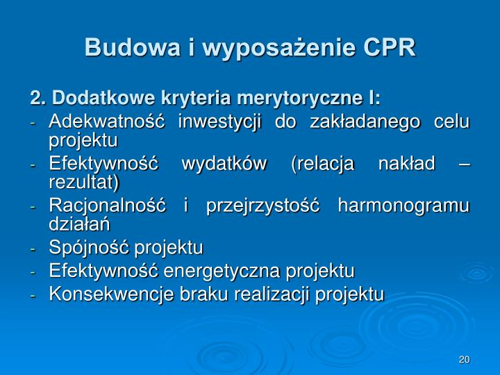 Budowa i wyposażenie CPR