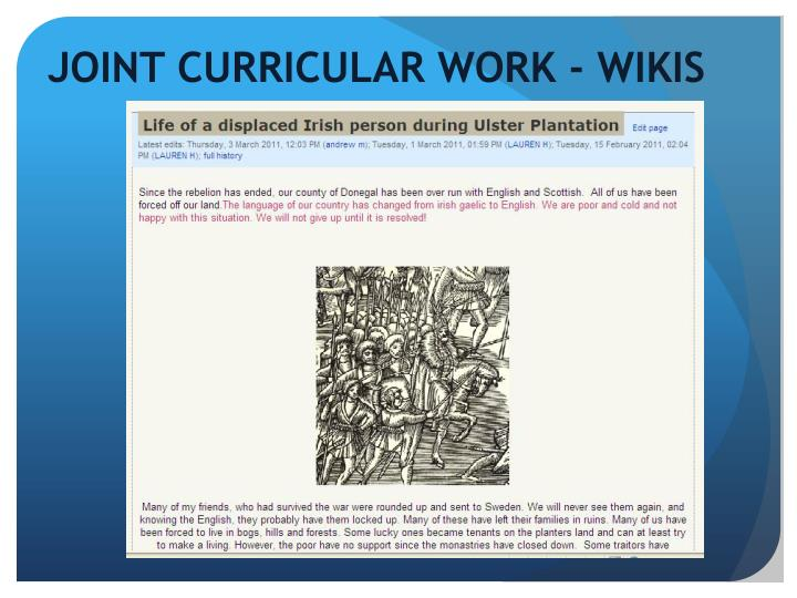 JOINT CURRICULAR WORK - WIKIS