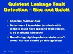 quietest leakage fault detection mao and gulati