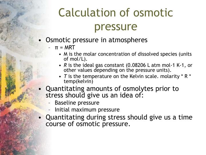 Calculation of osmotic pressure