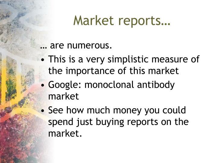 Market reports…