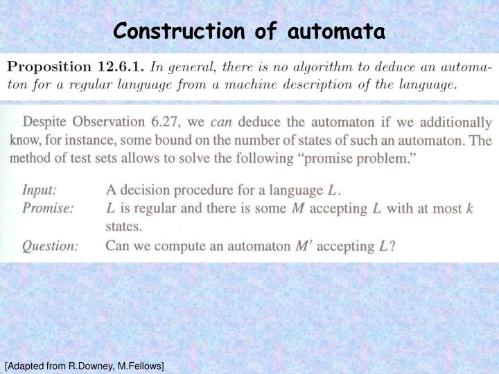 Construction of automata