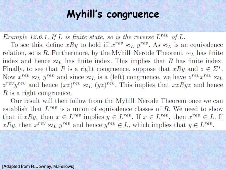 Myhill's congruence