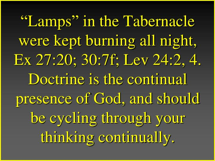 """""""Lamps"""" in the Tabernacle were kept burning all night, Ex 27:20; 30:7f; Lev 24:2, 4."""
