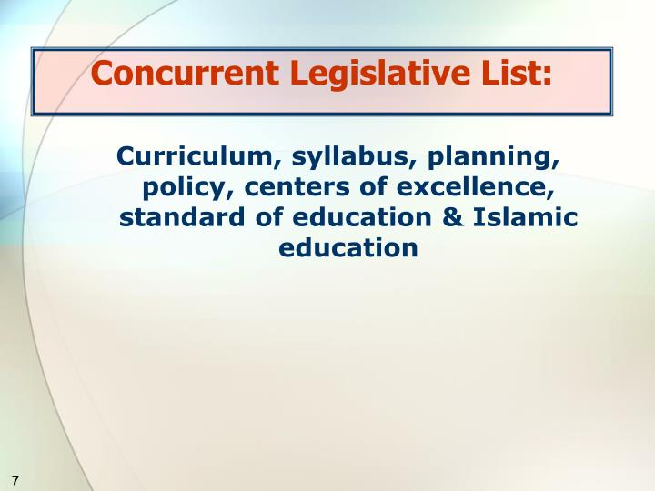 Concurrent Legislative List: