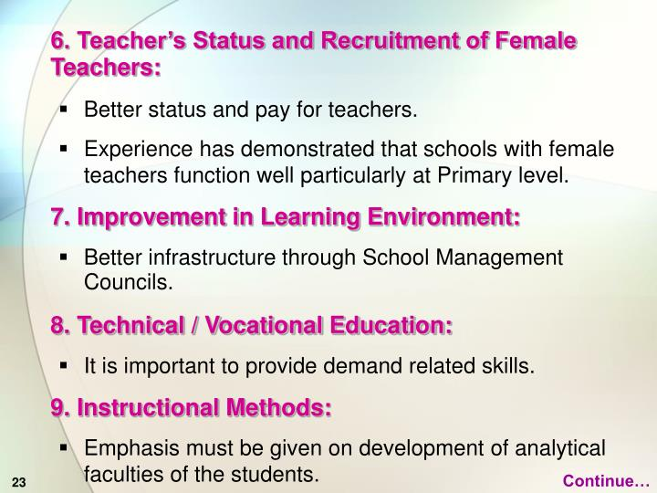 6. Teacher's Status and Recruitment of Female Teachers: