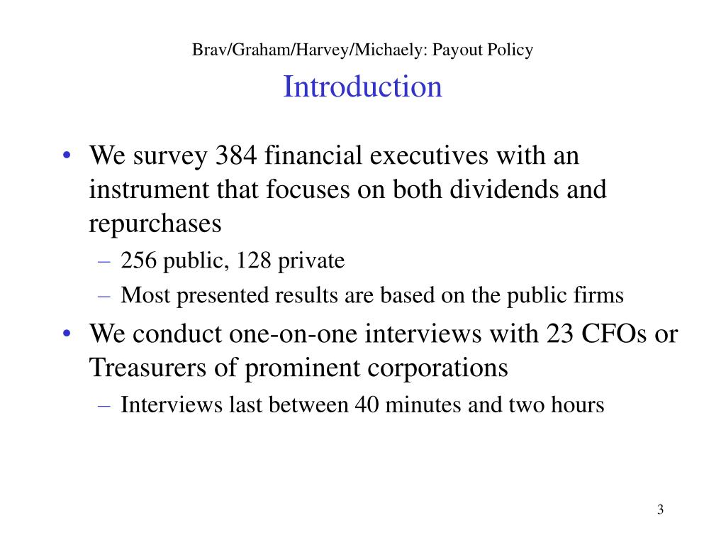 PPT - Payout Policy in the 21 st Century PowerPoint Presentation