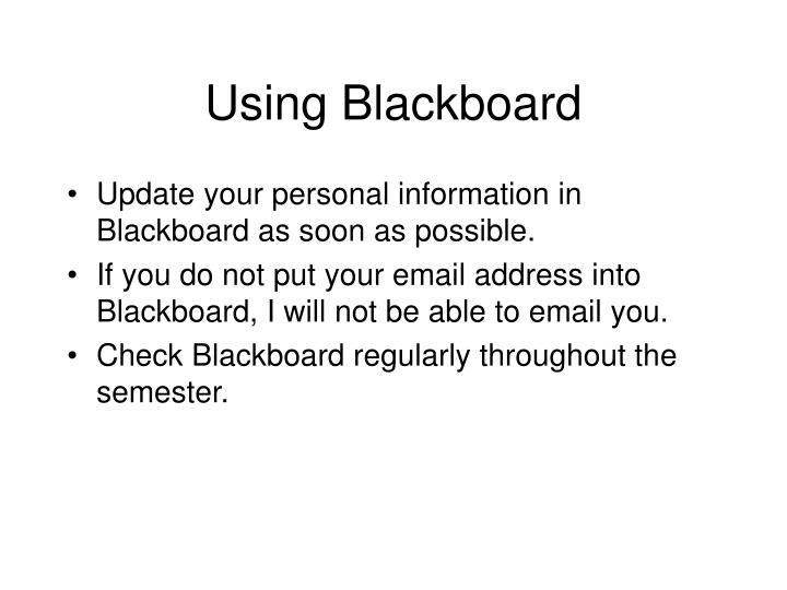 Using Blackboard